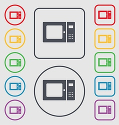 microwave icon sign symbol on the Round and square vector image