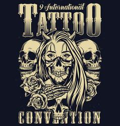 Monochrome tattoo festival vintage poster vector