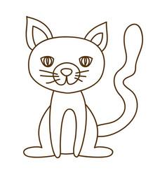 monochrome thin contour of cat sitting vector image