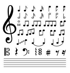 music notes isolated on white background vector image