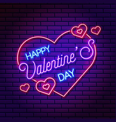 neon valentines day banner banner vector image