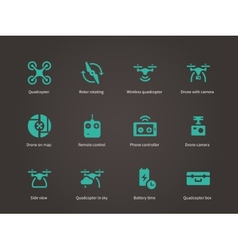 New technologies flying drone icons set vector