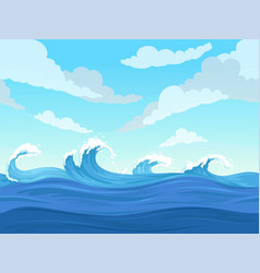 Ocean surface wave seamless underwater cartoon vector