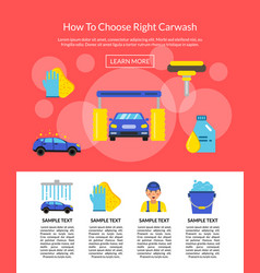 Page with car wash flat icons vector