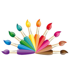 Paints and brushes color art brush symbol vector
