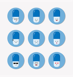 pills capsule emoji set cute medicine carrtoon vector image
