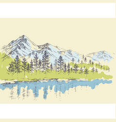 Pine forest in mountains over a lake vector