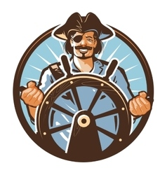 Pirate ship logo Jolly Roger journey or vector image