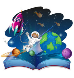 Pop up book space scene vector