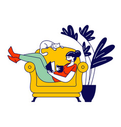 Reading books hobby young woman sitting on cozy vector