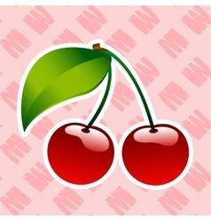 Red ripe cherry berrie food icon bio vector image