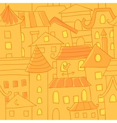 Retro style hand drawn city houses seamless vector image