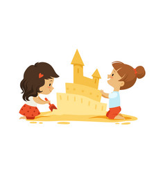 sand castle little girls play in sandbox or on vector image