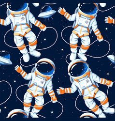 Seamless pattern with astronauts and stars vector