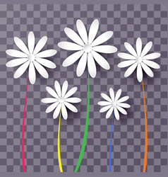 set abstract paper flowers 3d vector image