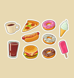 Set fast food donut ice cream pizza hamburger vector