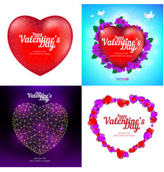 set happy valentines day greeting cards with vector image
