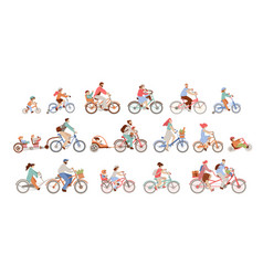 Set man women and children riding bicycles vector