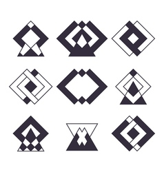 Set of 9 trendy geometric shapes Ethnic tattoo vector