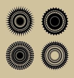 Set of beautiful black round geometr design elemen vector