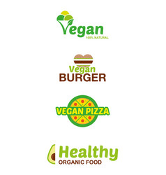 Set vegan logo vector