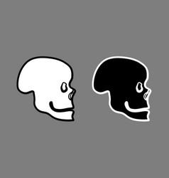 skull side view black white outline vector image