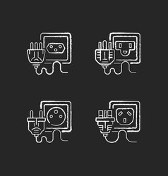 socket types black glyph icons set on white space vector image