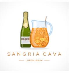 Spain cava sangria design logo template and text vector