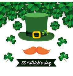 St patrick hat with mustache and clovers vector