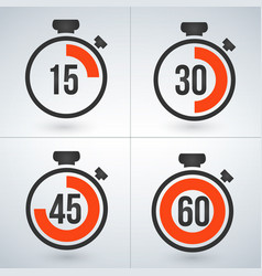 Stopwatch set for every 15 minutes isolated on vector