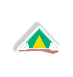 Stylish icon in paper sticker style camp tourist vector