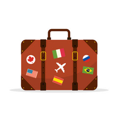 suitcase travel isolated vector image