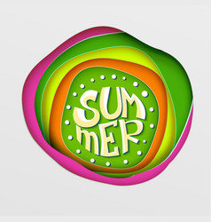 Summer lettering on paper art vector
