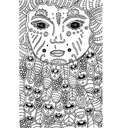 surreal cosmic child - doodle coloring page for vector image