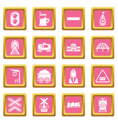 Train railroad icons set pink square vector