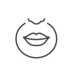 Upper lip hair removal line icon vector