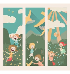 Vertical banners with kids playing outdoor sports vector