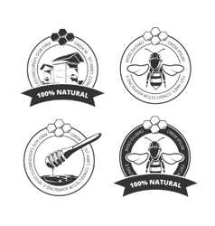 Vintage honey and bee labels badges vector
