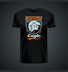 Vintage logo legendary eagle printed on black vector