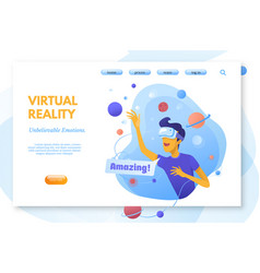 Virtual reality color landing page template vector