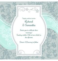 Wedding invitation on the pistacio colored floral vector