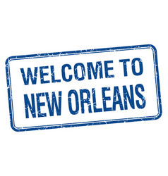 Welcome to new orleans blue grunge square stamp vector