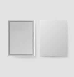 white box top view open pack box mock up empty vector image