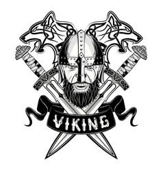 Wolf viking sword skroll vector