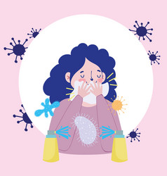 Woman avoid cover mouth with paper cartoon covid19 vector