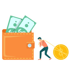 Worker and currency dollars in cash earn vector
