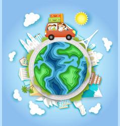 World car travel in paper art vector