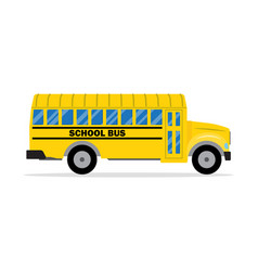 Yellow school bus side view vector