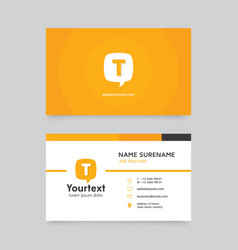 Yellow speech bubble business card vector