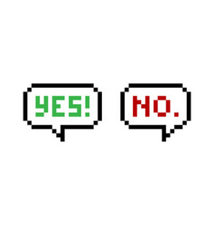 Yes and no pixel speech bubbles vector